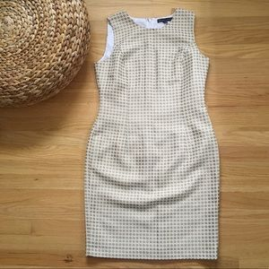 Brooks Brothers Gold and Cream Patterned Dress